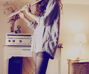 flute, girl, and music image