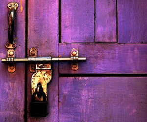 door, purple, and lock image