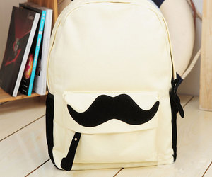 mustache, backpack, and cute image