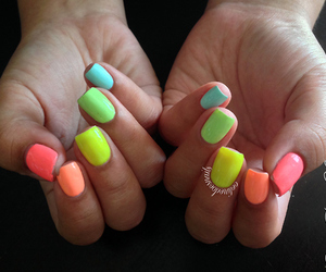 nails, neon, and colours image