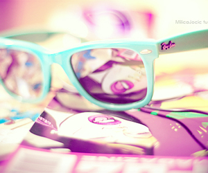 glasses, ray ban, and blue image