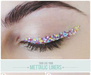 makeup, eyeliner, and confetti image