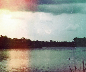 vintage, lake, and sky image
