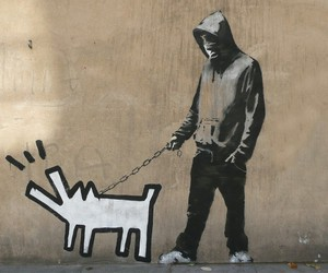 boy, dog, and murales image