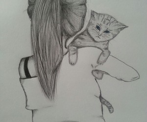 cat, drawing, and girl image