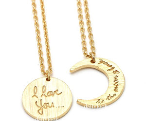 love necklace, moon necklace, and i love you necklace image
