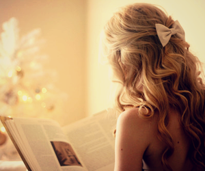 book, bow, and girl image