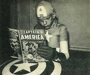 captain america, comic, and black and white image