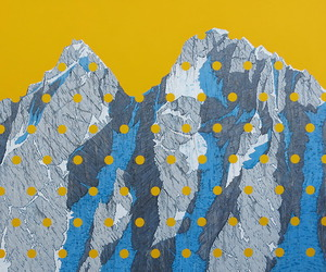 art, dots, and mountains image