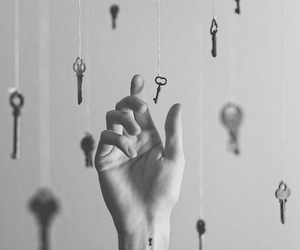 black and white, hand, and hipster image