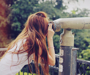 girl, hair, and telescope image