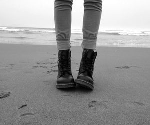 beach, photography, and black and white image