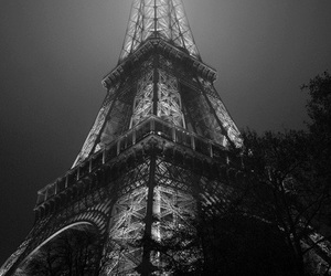 black and white, dark, and eiffel image