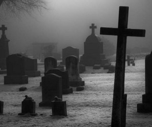 black and white, cemetery, and cross image