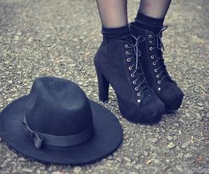 black, shoes, and hat image