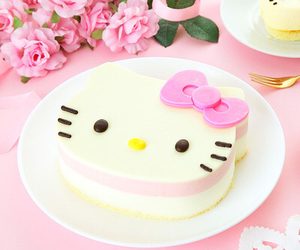 cake, hello kitty, and pink image