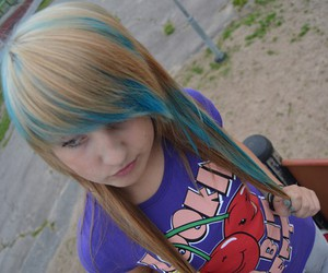 blond hair, blue hair, and girl image