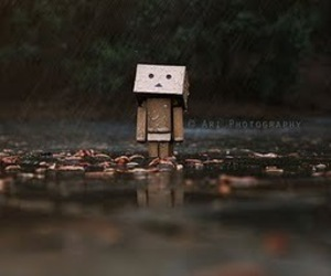 rain, danbo, and alone image