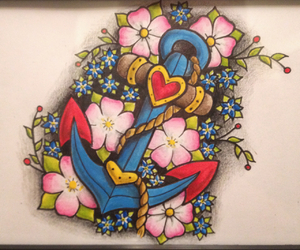 anchor, art, and blossom image