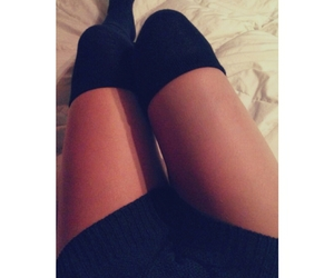 legs, bed, and girl image