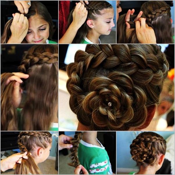 How To Diy Braided Flower Hair Style Www Fabartdiy Com