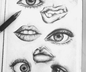 drawings, eyes, and lips image