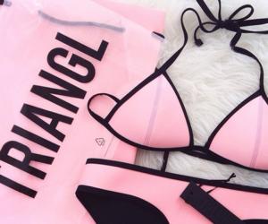 pink, triangl, and bikini image