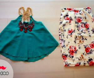 flower print, pencil skirt, and rojo image