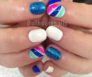 blue, pink, and nails image