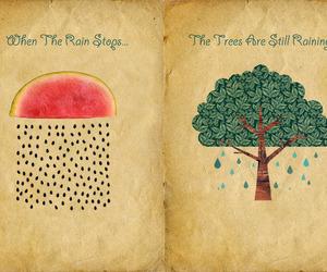art, rain, and tree image
