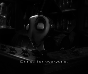 black and white, corpse bride, and drinks image