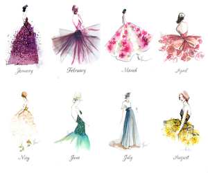 dress, month, and drawing image