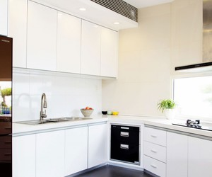 indoor garden, modern residence, and white kitchen cabinets image