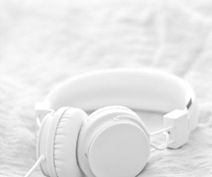 white, music, and headphones image