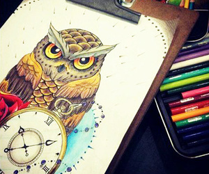 owl, clock, and drawing image
