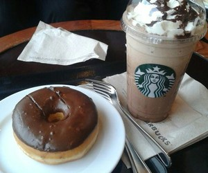 donuts, starbucks, and coffee image