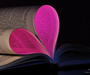 book, heart, and pink image