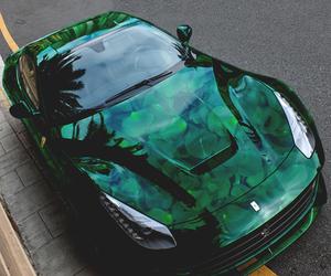 car, green, and ferrari image