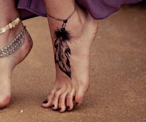 girl, feather, and feet image