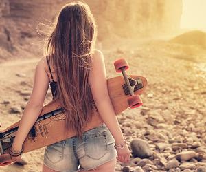 girl, beach, and skate image