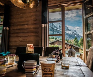 mountains, breakfast, and nature image