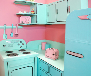 kitchen, pink, and blue image