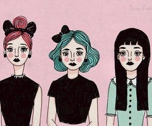girl, drawing, and pink image