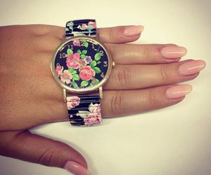 nails, watch, and black image