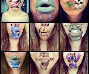 disney, lips, and art image