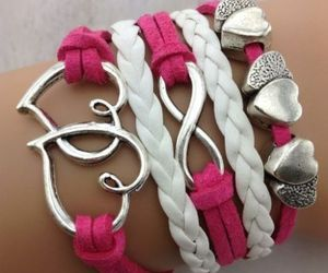 bracelet, pink, and heart image