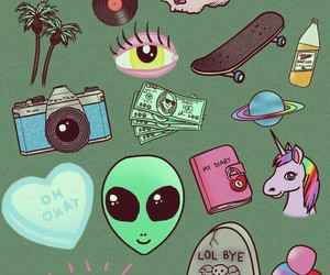 alien, money, and moon image