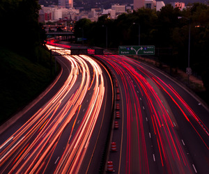 city, lights, and road image