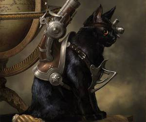 cat, steampunk, and caturday image