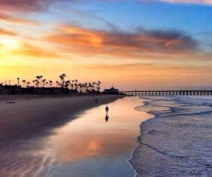 beach, sunset, and california image